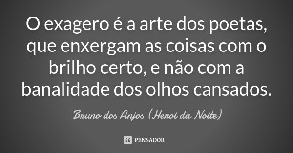 O exagero é a arte dos poetas, que enxergam as coisas com o brilho certo, e não com a banalidade dos olhos cansados.... Frase de Bruno dos Anjos (Heroi da Noite).