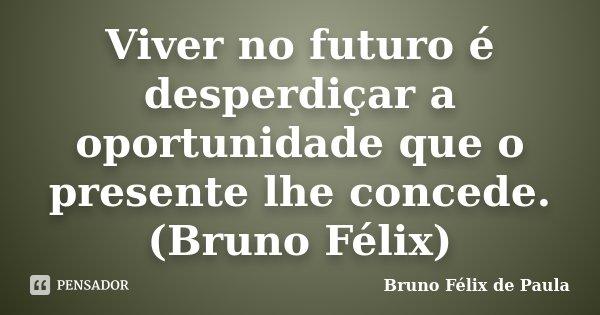 Viver no futuro é desperdiçar a oportunidade que o presente lhe concede. (Bruno Félix)... Frase de Bruno Félix de Paula.