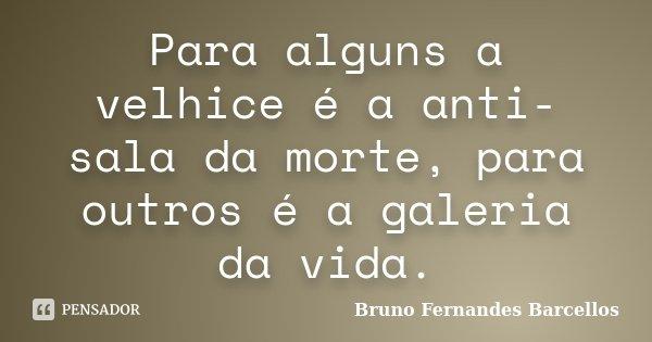 Para alguns a velhice é a anti-sala da morte, para outros é a galeria da vida.... Frase de Bruno Fernandes Barcellos.