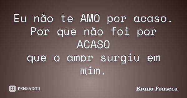 Eu não te AMO por acaso. Por que não foi por ACASO que o amor surgiu em mim.... Frase de Bruno Fonseca.