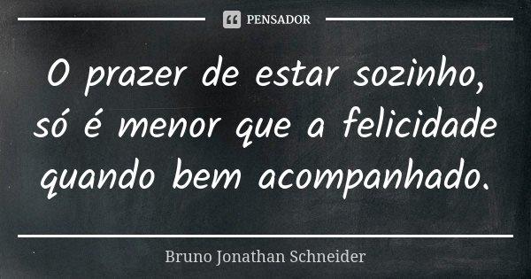 O prazer de estar sozinho, só é menor que a felicidade quando bem acompanhado.... Frase de Bruno Jonathan Schneider.