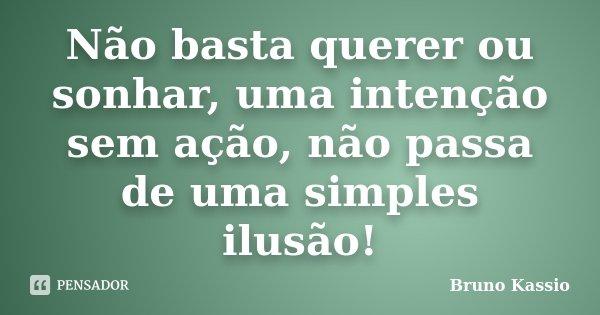 Não basta querer ou sonhar, uma intenção sem ação, não passa de uma simples ilusão!... Frase de Bruno Kassio.