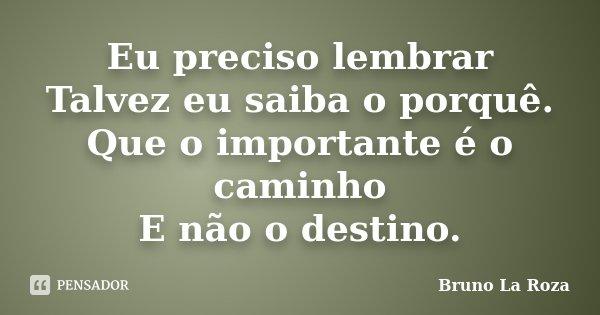 Eu preciso lembrar Talvez eu saiba o porquê. Que o importante é o caminho E não o destino.... Frase de Bruno La Roza.