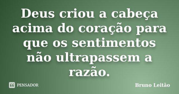 Deus criou a cabeça acima do coração para que os sentimentos não ultrapassem a razão.... Frase de Bruno Leitão.