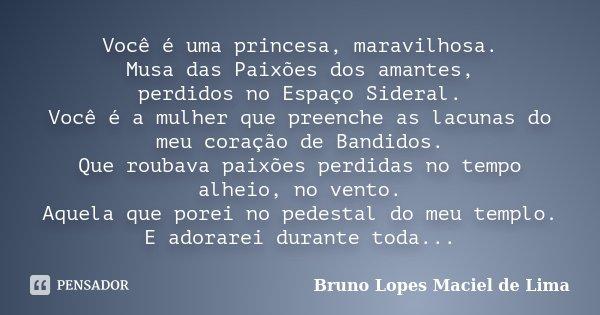 Você é uma princesa, maravilhosa. Musa das Paixões dos amantes, perdidos no Espaço Sideral. Você é a mulher que preenche as lacunas do meu coração de Bandidos. ... Frase de Bruno Lopes Maciel de Lima.