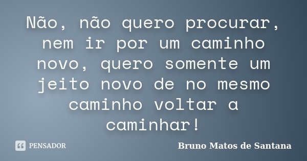 Não, não quero procurar, nem ir por um caminho novo, quero somente um jeito novo de no mesmo caminho voltar a caminhar!... Frase de Bruno Matos de Santana.