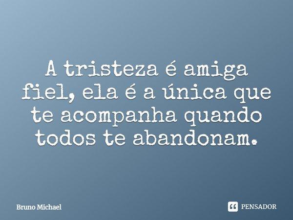 A tristeza é amiga fiel,ela é a única que te acompanha quando todos te abandonam.... Frase de Bruno Michael.