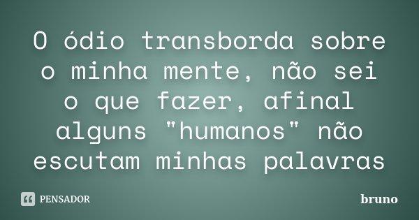 """O ódio transborda sobre o minha mente, não sei o que fazer, afinal alguns """"humanos"""" não escutam minhas palavras... Frase de Bruno."""
