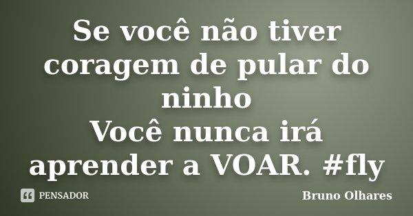 Se você não tiver coragem de pular do ninho Você nunca irá aprender a VOAR. #fly... Frase de Bruno Olhares.