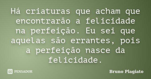 Há criaturas que acham que encontrarão a felicidade na perfeição. Eu sei que aquelas são errantes, pois a perfeição nasce da felicidade.... Frase de Bruno Plagiato.