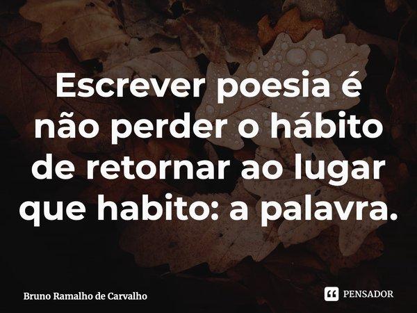 Escrever poesia é não perder o hábito de retornar ao lugar que habito: a palavra.... Frase de Bruno Ramalho de Carvalho.
