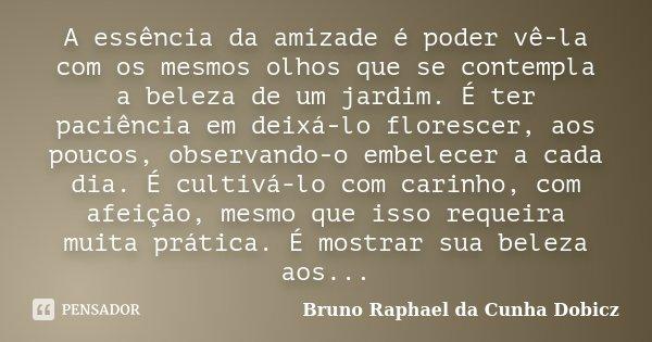A essência da amizade é poder vê-la com os mesmos olhos que se contempla a beleza de um jardim. É ter paciência em deixá-lo florescer, aos poucos, observando-o ... Frase de Bruno Raphael da Cunha Dobicz.