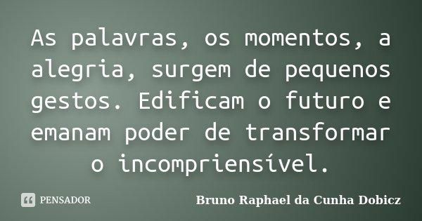 As palavras, os momentos, a alegria, surgem de pequenos gestos. Edificam o futuro e emanam poder de transformar o incompriensível.... Frase de Bruno Raphael da Cunha Dobicz.