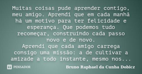 Muitas coisas pude aprender contigo, meu amigo. Aprendi que em cada manhã há um motivo para ter felicidade e esperança. Que podemos tudo recomeçar, construindo ... Frase de Bruno Raphael da Cunha Dobicz.