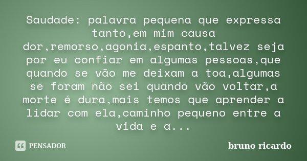 Saudade: palavra pequena que expressa tanto,em mim causa dor,remorso,agonia,espanto,talvez seja por eu confiar em algumas pessoas,que quando se vão me deixam a ... Frase de Bruno Ricardo.