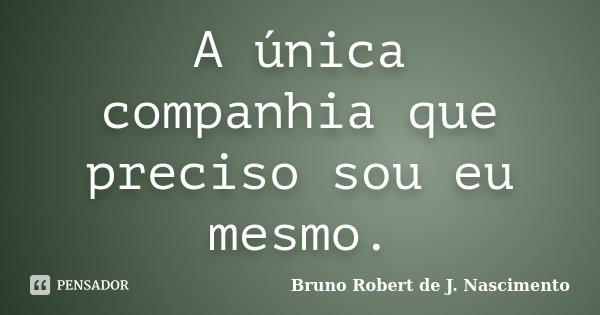 A única companhia que preciso sou eu mesmo.... Frase de Bruno Robert de J. Nascimento.