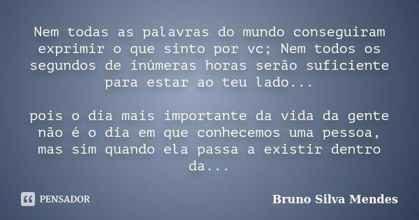 Nem todas as palavras do mundo conseguiram exprimir o que sinto por vc; Nem todos os segundos de inúmeras horas serão suficiente para estar ao teu lado... pois ... Frase de Bruno Silva Mendes.
