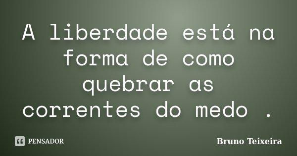 A liberdade está na forma de como quebrar as correntes do medo .... Frase de Bruno Teixeira.