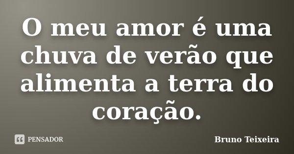 O meu amor é uma chuva de verão que alimenta a terra do coração.... Frase de Bruno Teixeira.