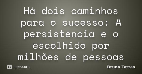 Há dois caminhos para o sucesso: A persistencia e o escolhido por milhões de pessoas... Frase de Bruno Torres.