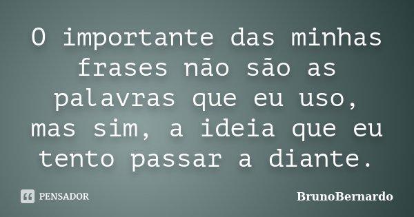 O importante das minhas frases não são as palavras que eu uso, mas sim, a ideia que eu tento passar a diante.... Frase de BrunoBernardo.