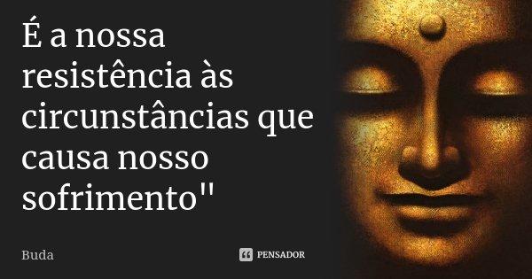 """É a nossa resistência às circunstâncias que causa nosso sofrimento""""... Frase de Buda."""