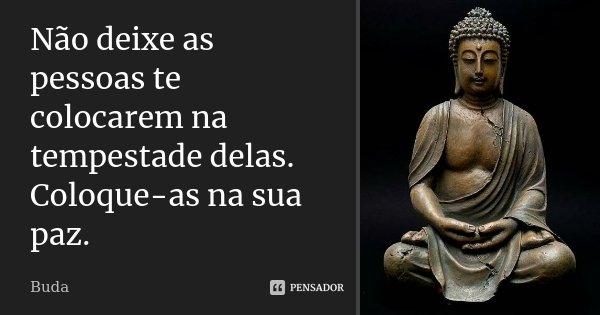 Não deixe as pessoas te colocarem na tempestade delas. Coloque-as na sua paz.... Frase de Buda.