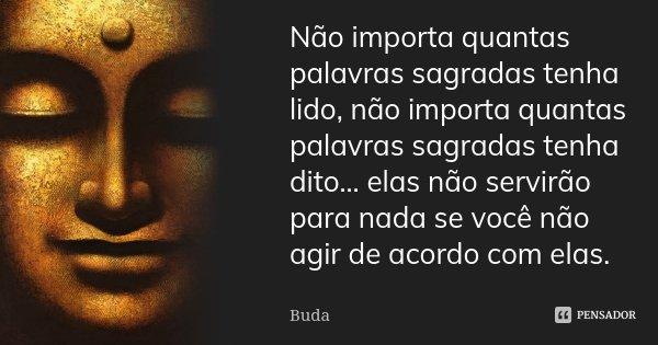 Não importa quantas palavras sagradas tenha lido, não importa quantas palavras sagradas tenha dito… elas não servirão para nada se você não agir de acordo com e... Frase de Buda.