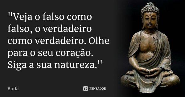 """""""Veja o falso como falso, o verdadeiro como verdadeiro. Olhe para o seu coração. Siga a sua natureza.""""... Frase de Buda."""