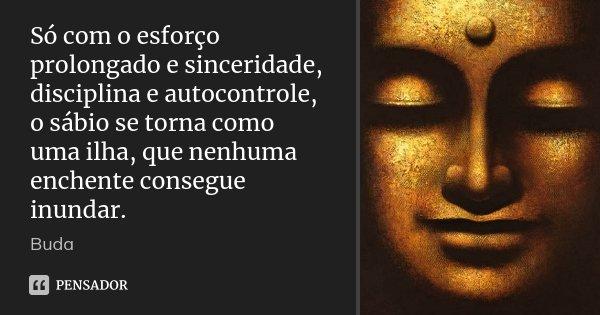 Só com o esforço prolongado e sinceridade, disciplina e autocontrole, o sábio se torna como uma ilha, que nenhuma enchente consegue inundar.... Frase de Buda.