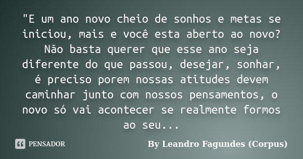 """""""E um ano novo cheio de sonhos e metas se iniciou, mais e você esta aberto ao novo? Não basta querer que esse ano seja diferente do que passou, desejar, so... Frase de By Leandro Fagundes (Corpus)."""