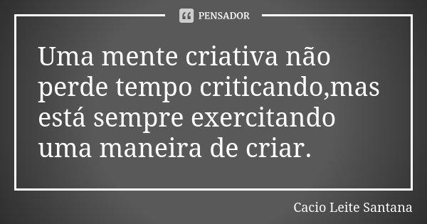 Uma mente criativa não perde tempo criticando,mas está sempre exercitando uma maneira de criar.... Frase de Cacio Leite Santana.