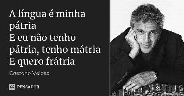 A língua é minha pátria E eu não tenho pátria, tenho mátria E quero frátria... Frase de Caetano Veloso.