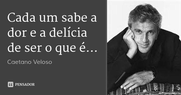 Cada um sabe a dor e a delícia de ser o que é...... Frase de Caetano Veloso.