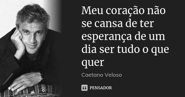 Meu coração não se cansa de ter esperança de um dia ser tudo o que quer... Frase de Caetano Veloso.