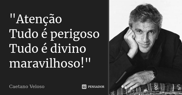 """""""Atenção Tudo é perigoso Tudo é divino maravilhoso!""""... Frase de Caetano Veloso."""