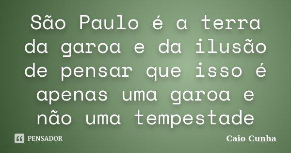 São Paulo é a terra da garoa e da ilusão de pensar que isso é apenas uma garoa e não uma tempestade... Frase de Caio Cunha.