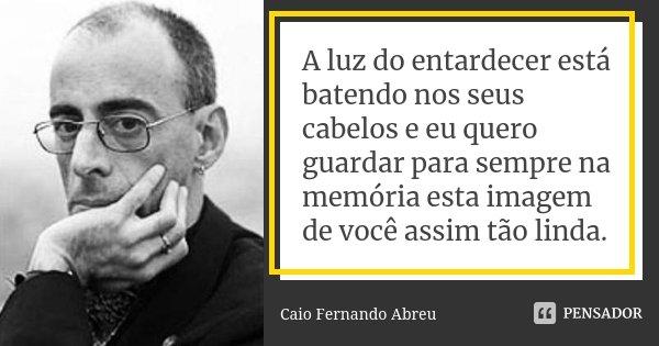 A luz do entardecer está batendo nos seus cabelos e eu quero guardar para sempre na memória esta imagem de você assim tão linda.... Frase de Caio Fernando Abreu.