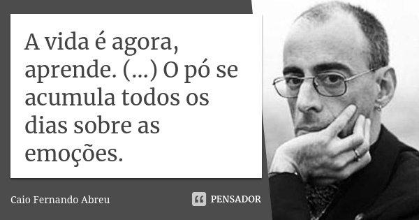 A vida é agora, aprende. (…) O pó se acumula todos os dias sobre as emoções.... Frase de Caio Fernando Abreu.