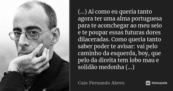 (...) Ai como eu queria tanto agora ter uma alma portuguesa para te aconchegar ao meu seio e te poupar essas futuras dores dilaceradas. Como queria tanto saber ... Frase de Caio Fernando Abreu.