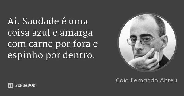 Ai. Saudade é uma coisa azul e amarga com carne por fora e espinho por dentro.... Frase de Caio Fernando Abreu.