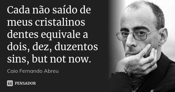 Cada não saído de meus cristalinos dentes equivale a dois, dez, duzentos sins, but not now.... Frase de Caio Fernando Abreu.