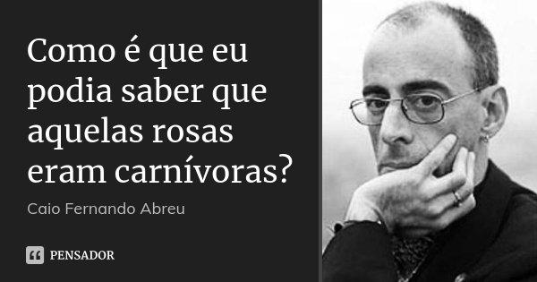 Como é que eu podia saber que aquelas rosas eram carnívoras?... Frase de Caio Fernando Abreu.