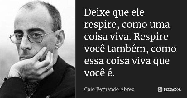 Deixe que ele respire, como uma coisa viva. Respire você também, como essa coisa viva que você é.... Frase de Caio Fernando Abreu.