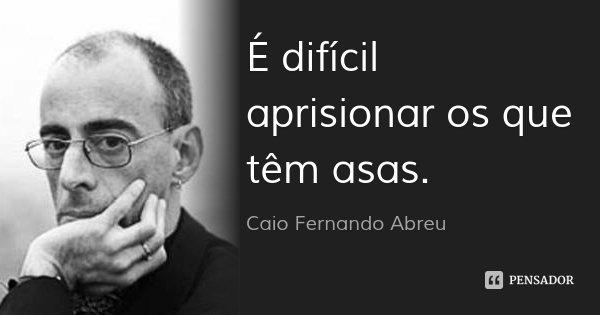 É difícil aprisionar os que têm asas.... Frase de Caio Fernando Abreu.