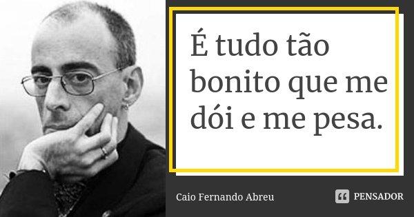 É tudo tão bonito que me dói e me pesa.... Frase de Caio Fernando Abreu.