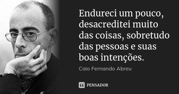 Endureci um pouco, desacreditei muito das coisas, sobretudo das pessoas e suas boas intenções.... Frase de Caio Fernando Abreu.
