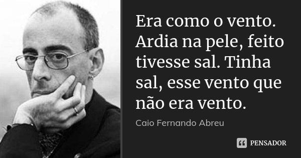 Era como o vento. Ardia na pele, feito tivesse sal. Tinha sal, esse vento que não era vento.... Frase de Caio Fernando Abreu.