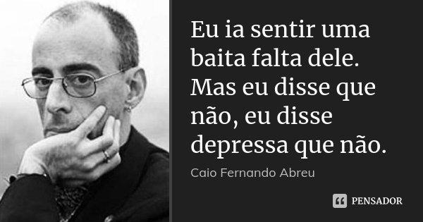 Eu ia sentir uma baita falta dele. Mas eu disse que não, eu disse depressa que não.... Frase de Caio Fernando Abreu.