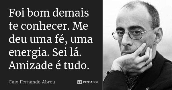 Foi bom demais te conhecer. Me deu uma fé, uma energia. Sei lá. Amizade é tudo.... Frase de Caio Fernando Abreu.